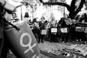 São Paulo, Brazil - May 28, 2016: Women play drums in action for the rights of gay women and the end of the coup d'etat in the country